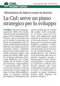 La Cisl: serve un piano strategico per lo sviluppo